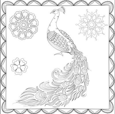 adult colouring in puzzle peacock