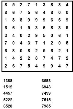 The number finder works the same as a wordsearch but rather than find ...